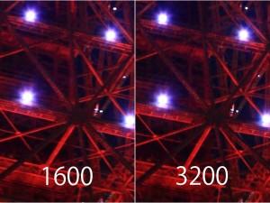 1600の方は小さなライトが横に流れてます…orz。ノイズ量に注目してくだせぇ。