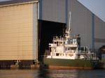 船が食い込んだらしい倉庫。うそ、ドックかな。